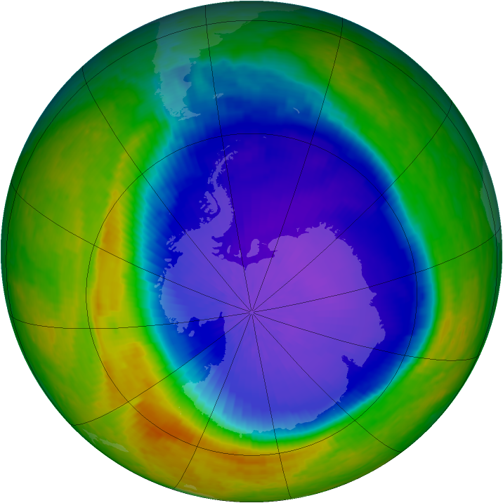 Antarctic ozone map for 16 October 2001